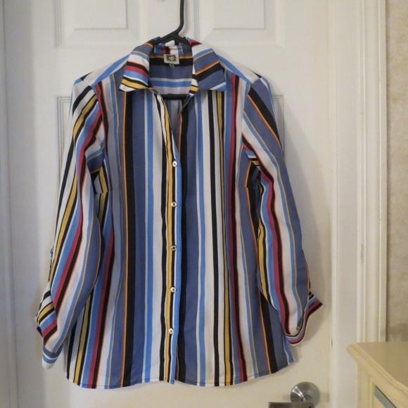 Anne Klein Tops Womens Tunic Blouse Size 6 Multi Color Poshmark